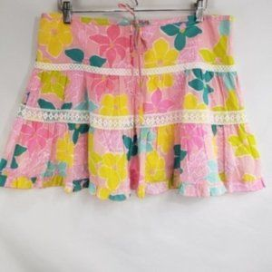 Lilly Pulitzer Pink and Yellow Floral Mini Skirt